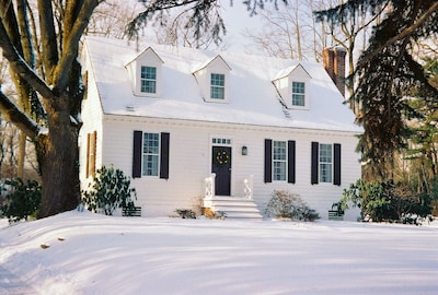 Here's the Cottage in winter under a blanket of newly fallen snow.