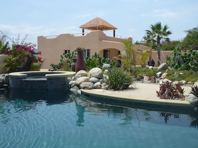 Sparkling pool and jacuzzi next to your beach getaway casa.