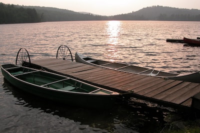 Canoes at sunset.