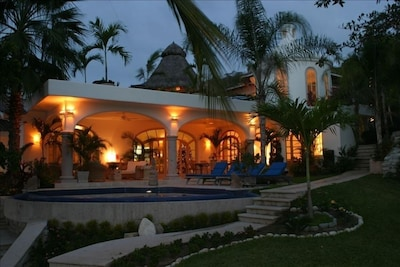 The villa at night