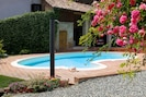 Courtyard with exterior hot water shower and private pool