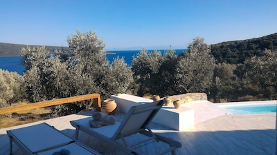 A splendid villa in an olive grove overlooking the sea