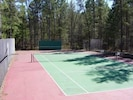 Private Tennis Court with basketball hoops