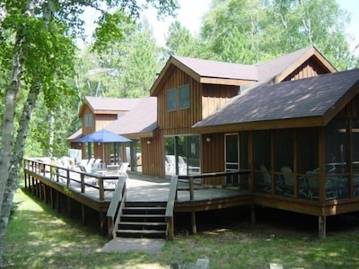 Lakeside view - Wisconsin Lake Home Rental - with Private Tennis Court, Hot tub