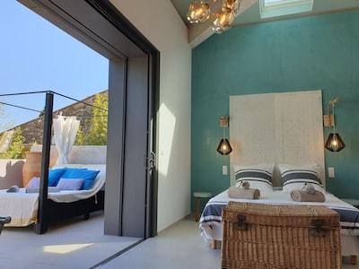 chambre lit en 160cm et lit d'extérieur