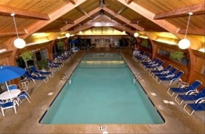 Large heated indoor swimming pool at the Resort Recreation Center