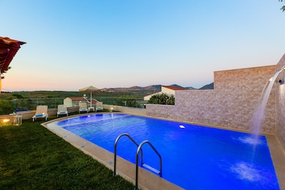 There is a sunbathing terrace, featuring a 50m2  heated private swimming pool!