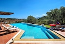 The villa is surrounded by olive groves and views of the mountains and sea