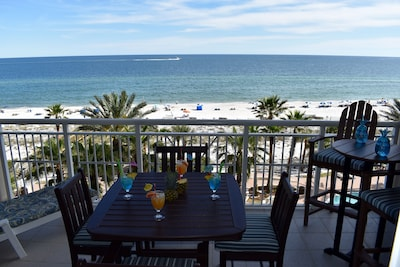 Spectacular View from our Gulf Front Balcony!All New Furn-Seats 6!New Lounger