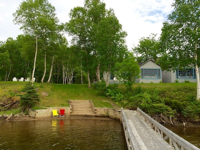 View of Boat Cottage, Kids' Beach, Steps, and  Walkway to Dock Area
