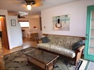 Living room has a HDTV & full size futon/bed for additional guests.