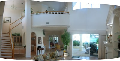 GREAT ROOM WITH MEZZANINE AND FIREPLACE