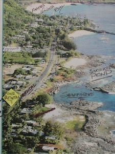Rental Aerial View  Walking distance to Sharkscove,Foodland,Waimea Bay, Pipeline