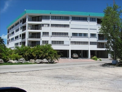 view of the building from the parking area