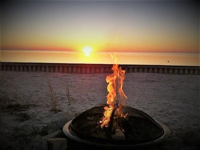 Fall Beach fire sunset beautiful.