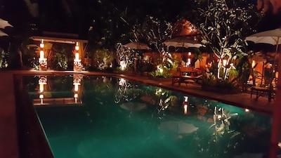 Large Salt Water Pool at Night