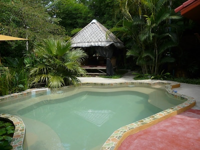 Small Salt Water Pool with Jets and Poolside Sala
