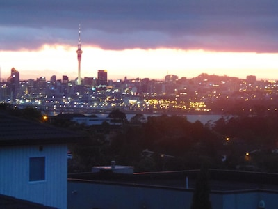 Panoramic views of Auckland from the main bedroom.