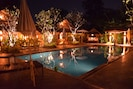 Evening View of Salt Water Pool from One of the Poolside Salas