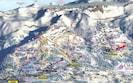 Pistes de ski de CransMontana. En rouge, trajet entre le parking et le chalet.