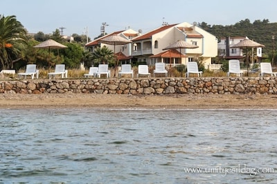 private beach of the villas