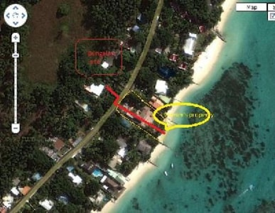 Aerial view of access to the beach (100mts) via owner beachfront house