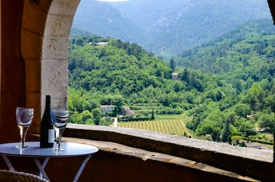 The loggia with Luberon, vineyard and lavender view