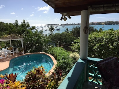 From the main terrace to pool, garden and sea