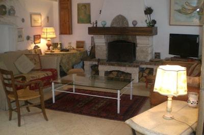 Salon 1 avec TV et cheminée