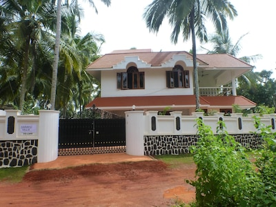 "Front entrance  of ""Sarayu Villa, detached property, very private."