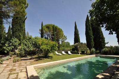 Piscine et jardin vue cour
