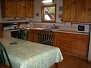 Well equipped kitchen, gas range, microwave, coffee maker, toaster