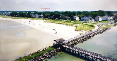 Aerial view of The Dryden House and beach