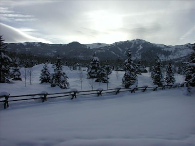 Winter view of The Canyons Resort from the patio deck.