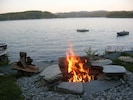 Fire Pit Overlooking Lake and Island