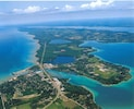 Aerial view of Elk Rapids and surrounding area.