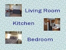 Living Room, Kitchen and Bedroom