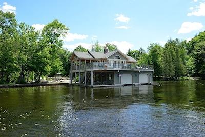 2-slip boathouse with 1-bedroom, kitchen, living room, bathroom, outdoor bar...