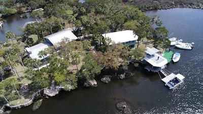 Aerial drone photo of Homosassa Island Lodge.  Photo credit to Rick Damato.