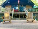 Front porch that faces Alton Pond