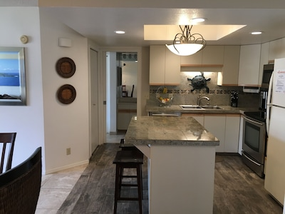 Fully stocked kitchen for preparing meals at the condo.