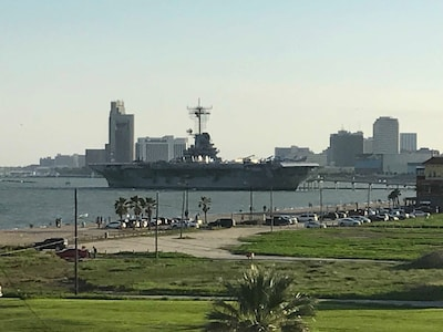 Unobstructed view of U.S.S. Lexington and downtown Corpus Christi