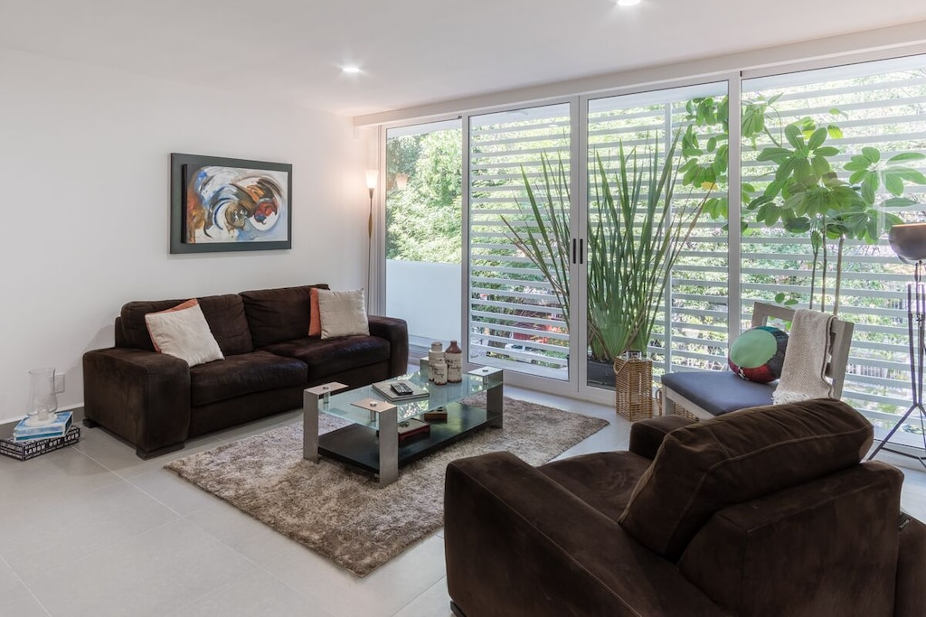 VRBO Mexico City: Apartment living room with two brown sofas