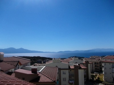 View from sun terrace towards Milli National Park and Samos Island (Greece).