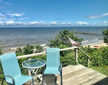 A guest favorite - cBay waterfront deck over-looking the Eastern Shore.