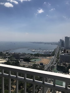 View from the patio.  US embassy, Yacht club & the cultural center can be seen.