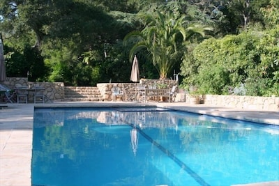 Swimmers'  Pool and Spa with entertainment patio