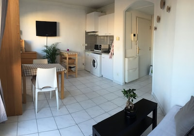 salon-cuisine main room with kitchen