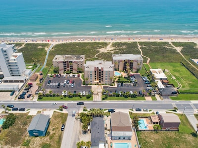 Aerial of Beach House Condominiums! Located directly on the beach :)