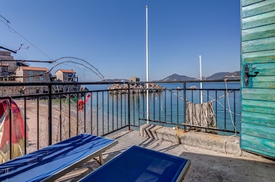 From the terrace there is a great view of the Adriatic Sea.
